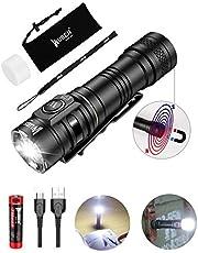 LED Taschenlampe mit Magnetfuß WUBEN E05 Superhelle 900 Lumen CREE XPL LED Wasserdichte IP68 Taktische Mini AA Taschenlampen mit USB Wiederaufladbar Batterie EDC für Campen, Wandern, Hause benutzen