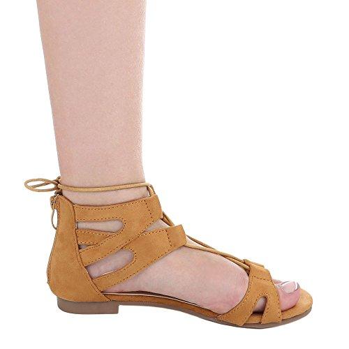 Ital-Design - Sandalias Romanas Mujer marrón claro