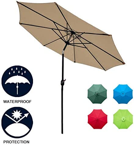 Sunnyglade 9Ft Patio Umbrella Outdoor Table Umbrella with 8 Sturdy Ribs Tan