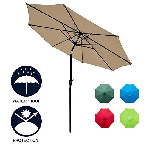 Sunnyglade 9Ft Patio Umbrella Outdoor Table Umbrella with 8 Sturdy Ribs (Tan)