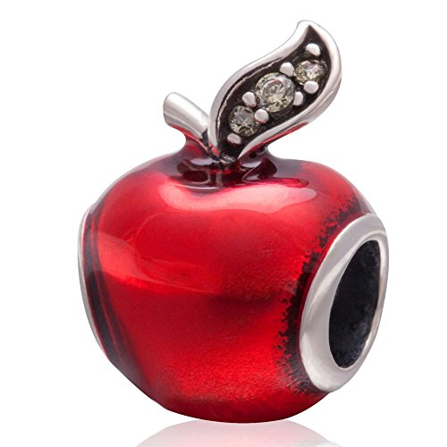 Apple Charm Red Enamel Charm 925 Sterling Silver Lucky Fruit Charm Christmas Charm for Pandora ()