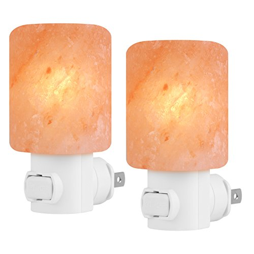 Syntus 2 Pack Himalayan Salt Lamp with 2 Additional 7 Colorful LED Bulbs Natural Crystal Salt Light Glow Hand Carved Night Lights Wall light, UL Listed Plug for Lighting, Decoration and Air Purifying