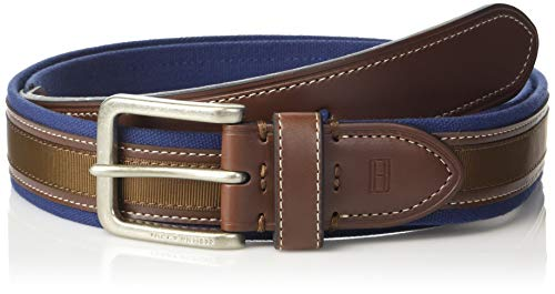 Tommy Hilfiger Men's Ribbon Inlay Belt - Fabric Belt with Single Prong Buckle, navy ribbon, 36 (Navy Belt Buckle)