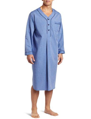 Majestic International Men's End On End Basic Night Shirt, Blue, Large/X-Large by Majestic International
