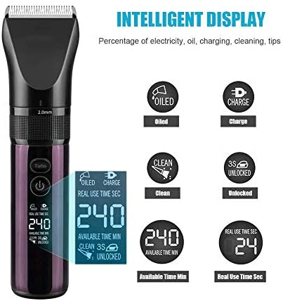 Hair Clipper Men Led Display 3 Modes Electric Hair Clipper Dual Charging Method Hair Trimmer Professional Hair Cutter Machine + Charging Base  zPspp