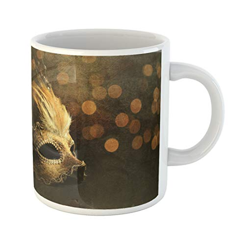 Semtomn Funny Coffee Mug Masquerade Golden Venetian Mask Over Shiny Bokeh Background with Texture 11 Oz Ceramic Coffee Mugs Tea Cup Best Gift Or Souvenir