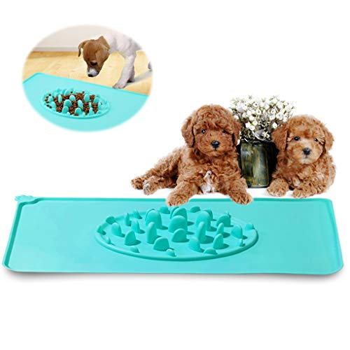 Andiker 2-in-1 Waterproof Pet Feeding Mat, Dog Slow Feeder Bowl with Non-Slip and Fold-able Silicone Dog Bowl Mat for…