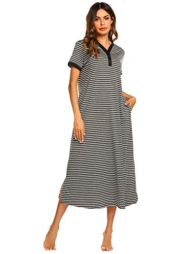 Ekouaer Women's Striped Nightdress,Long Loungewear Nightgown (Grey White Striped, Medium)