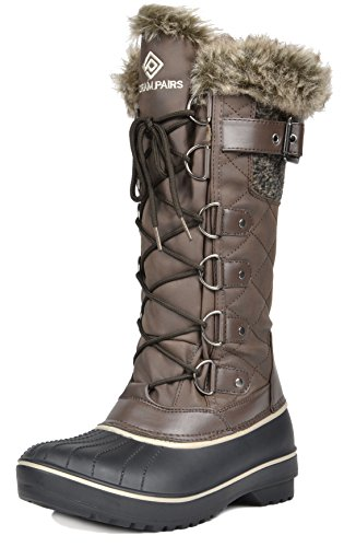 DREAM PAIRS Women's DP-Avalanche Brown Faux Fur Lined Mid Calf Winter Snow Boots Size 7 M US