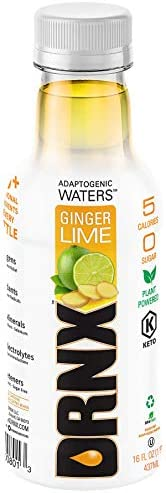 DRNX Sugar Free Adaptogenic Performance Waters, Ginger Lime - 16 Fluid Ounce Bottles, 12 Packs
