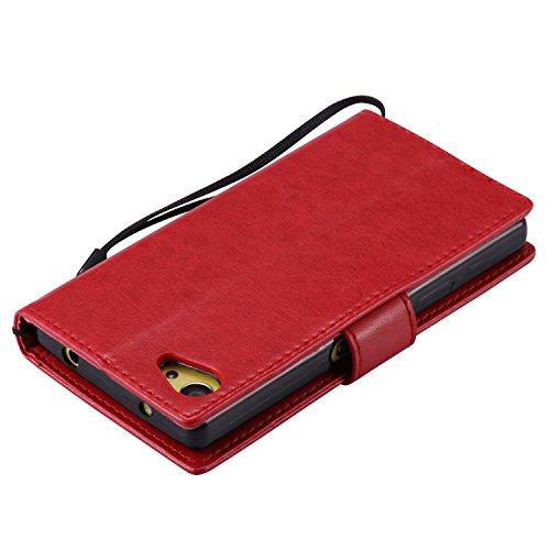 OuDu Funda Sony Xperia Z5 mini Carcasa de Billetera Funda PU Cuero para Sony Xperia Z5 mini Carcasa Suave protector con Correas de Teléfono Funda Arbol Flip Wallet Case Cover Bumper Carcasa Flexible L