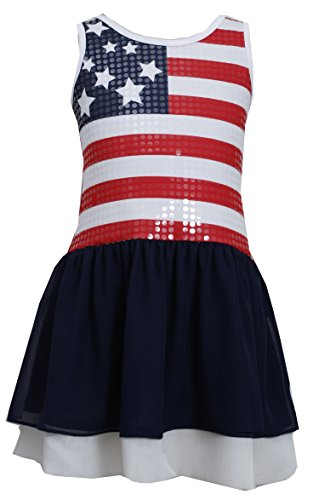Bonnie Jean Girls Ribbon American Flag Shorts Set 3m-6x