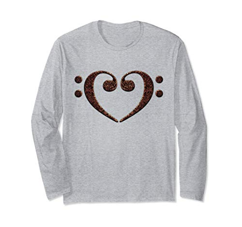 Double Bass Clef Heart Rust Black Music Notes Bassist Unisex Long Sleeve T-Shirt