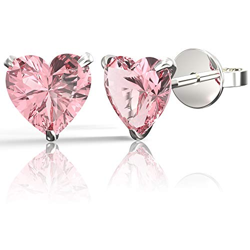 .925 Sterling Silver Hypoallergenic Pink Cubic Zirconia Heart Shape Stud Earrings, 6mm ()