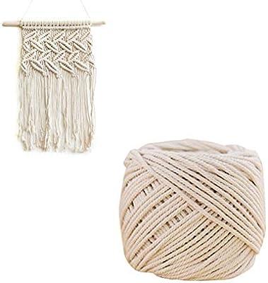 SUPVOX Cordón Cuerda de Algodón Natural 4mm Trenzado DIY Colgador de Plantas Artesanía Manualidades para Decoración de Bohemia: Amazon.es: Hogar