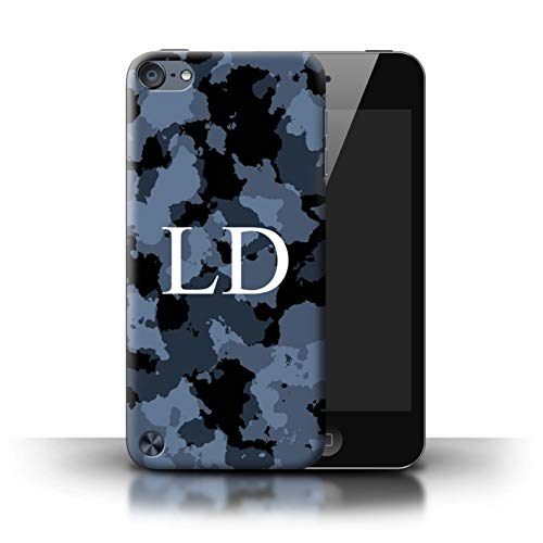 (Personalized Custom Military Camouflage Case for Apple iPod Touch 5 / Navy Blue Urban Digital Design/Initial/Name/Text DIY Cover)