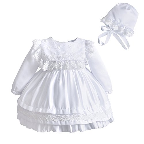 Christening Dress Satin Tulle (Newborn Baby Girl Lace Square Bib Long Sleeve Christening Gown Baptism Dress With Bonnet White Size 24M)