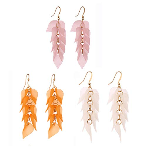 (3 Pairs Petals Leaf Dangle Earrings Ear Studs, Brass Hoop and Frosted Resin Leaf Tassel Pendant for Casual Wear Or Formal Dress Women Girls Jewelry(White,Pink,Orange))