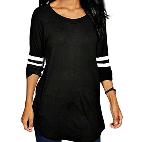 FimKaul Autumn Womens Crewneck Long Sleeve Baseball Blouse Raglan Long T-Shirt Tunic Tops (XL, Black) by FimKaul (Image #7)