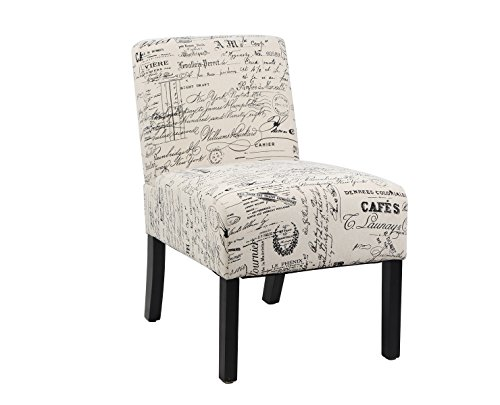 Modern Fabric Upholstery Armless Accent Chair w/ Pine Wood Legs for Kitchen Dining Living Room, White Script