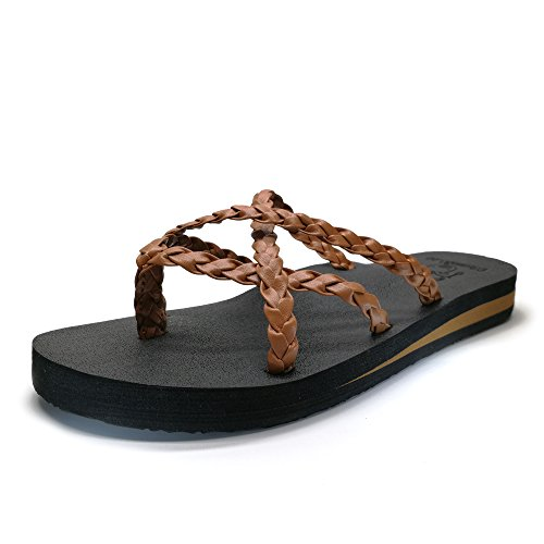KuaiLu Yoga Mat Women's Braid Leather Flip Flops Arch Support Cross Strappy Thong Sandals Non Slip