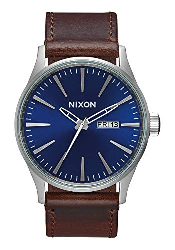 Nixon Sentry Leather Silver/Blue/Brown Classic Men's Watch (42mm. Silver & Blue Face/Brown Leather Band) from NIXON