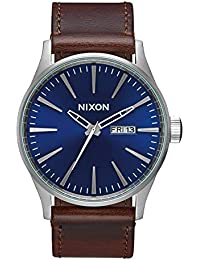 Sentry Leather A1051524-00. Blue and Brown Watch (42mm Blue/Silver Watch Face/ 23mm Brown Leather Band)