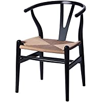 Ergo Furnishings Mid-Century Modern Wishbone Wood Dining Accent Chair, Black