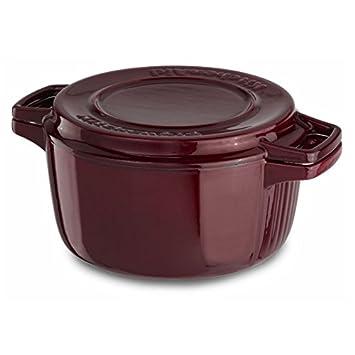 KitchenAid KCPI40CRRR Professional Cast Iron 4 Quart Casserole Cookware    Royal Red