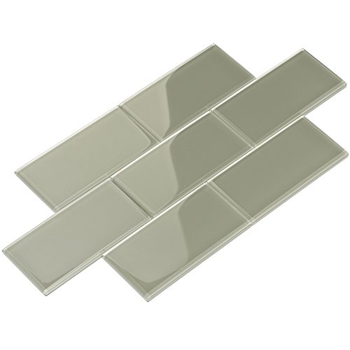 Giorbello G5937-44 Glass Subway Backsplash Tile, 3 x 6, Light Gray
