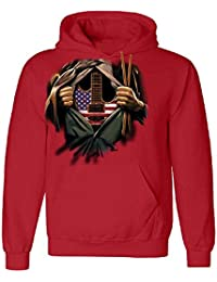 Electiric Guitar Heart American Unisex Hoodie 4th of July USA Flag Sweater