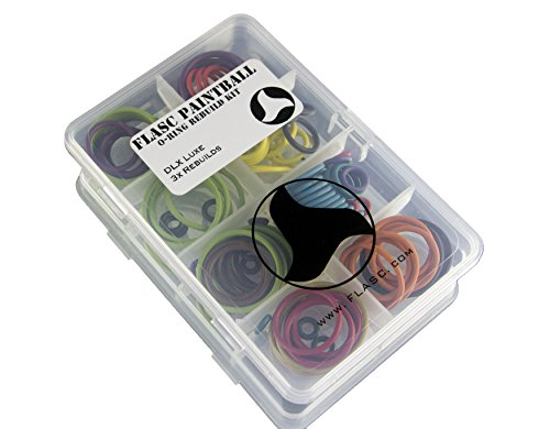 DLX Luxe 3x color coded paintball o-ring rebuild kit W/ HNBR by Flasc Paintball by Flasc Paintball