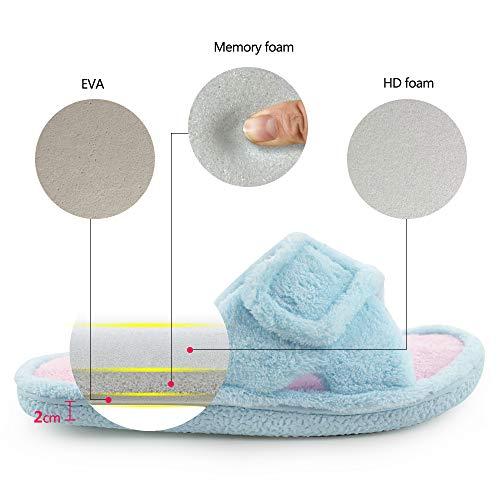 236fbf71d5dfb3 Magtoe Women Memory Foam Indoor Coral Velvet Adjustable Open-Toe House  Slipper