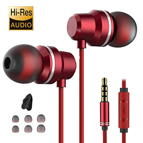 Earbuds Ear Buds in Ear Headphones Wired Earphones with Microphone Mic Stereo and Waterproof Wired Earphone Compatible with iPhone Mp3 Players Tablet Laptop 3.5mm[2020 New Model]