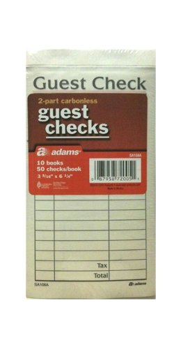 Adams 2-Part Carbonless Guest Checks 10 Books/50 Checks Per Book Two Receipt