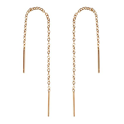 Gintan Sterling Silver 1mm Threader Earrings, 3 Inch (Gold)