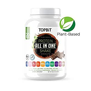 TOPBiT Plant Based All-in-One Protein Shake Powder, Chocolate, 28.22 Ounce Plant-Based Protein with Organic Ingredients, Vegan Protein Powder with 20g Protein, 4g Fiber, 5g BCAA, 0g Sugar