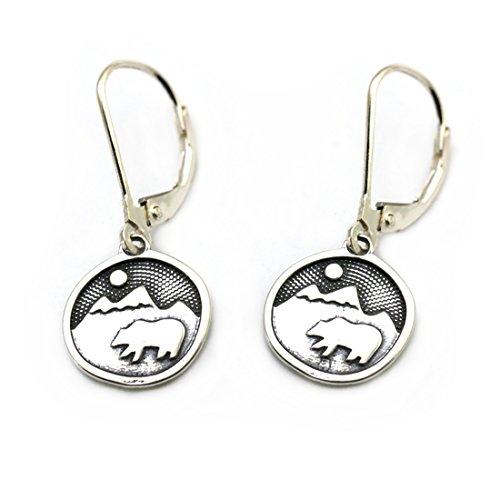 (Tarma Sterling Silver Bear Happy Earrings, One Size, Black)