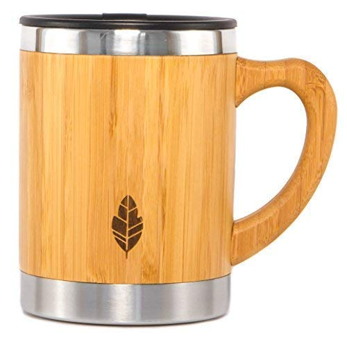 - Wood Travel Insulated Coffee Cup | Stainless Steel Bamboo Mug with Lid | Cool Coffee Mugs for Men, Women | Unique Gift | 100% Eco-Friendly and Eco-Safe, 13.5 Ounces
