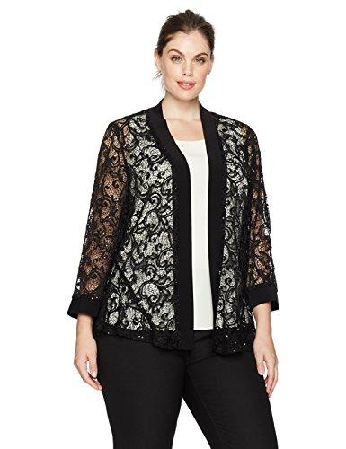 R&M Richards Women's Plus Size 1 Piece Laced Long Jacket with Sequins, Black, 2X