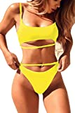 QINSEN Womens High Cut Bikini Beachwear Cami Crop Tank + Brazilian Style Thong 2PCS Swim Outfit Yellow S