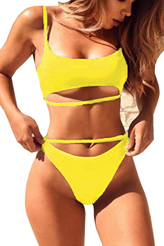ESONLAR Womens Hollow Out Swim Suit Strappy Brazilian 2pcs Bathing Suits Yellow S