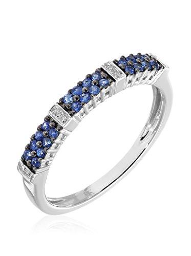 Revoni - Bague Éternité en or blanc 9 carats, saphirs bleus et diamants 0,25 carat