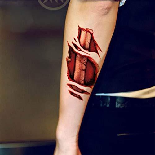 Westeng 5X Tatuajes Temporales Halloween Letras Sangrantes Pegatina Tatuaje Maquillaje para el Partido de Halloween Prop y Cosplay Size 15 x 10 CM: ...