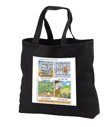 Londons Times Funny Silly Wordplay Cartoons - You ve Got Mail, Jail, Kale, and Bale - Tote Bags - Black Tote Bag 14w x 14h x 3d (tb_3434_1)