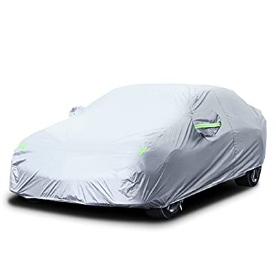 """LOETAD Car Cover Sedan Cover Waterproof All Weather Protection Full Car Cover Outdoor UV Protection Fits Sedan(185"""" Lx70 Wx60 H)"""