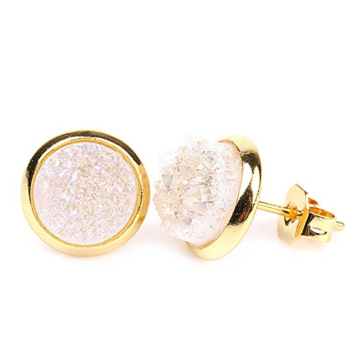 Women Colorful Gold Plated Bezel 8mm Round Natural Druzy Agate Earrings (Opal White) Agate Round Earrings