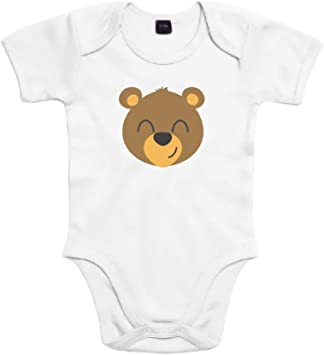 SUPERMOLON Body bebé algodón Osito 3 meses Blanco Manga corta ...