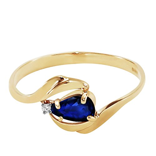 (14k Yellow Gold Ring with Natural Diamond and Pear-Shaped Sapphire - Size)