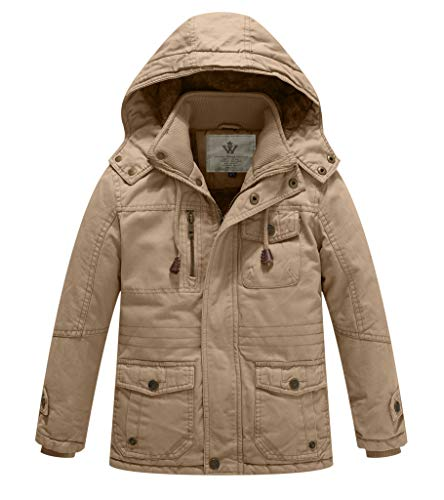 (WenVen Boy's and Girl's Active Jacket with Removable Hood, Khaki, 10-12Y)